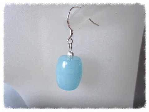 Chunky Pastel Blue Amazonite Barrels & Sterling Silver Drop Earrings